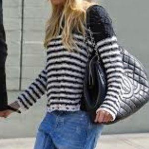 Free People nubby stripe crochet trim sweater